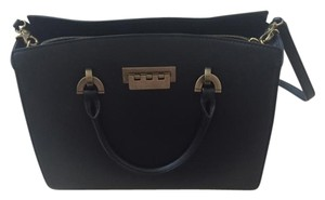 Zac Posen Leather Work Business Satchel in Black