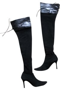 Manolo Blahnik Thigh High Suede Black Boots