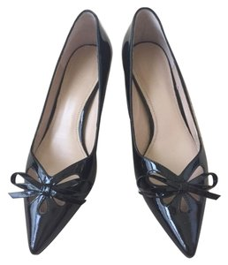Joan & David Kitten Patent Leather Cut-out Work Black Pumps