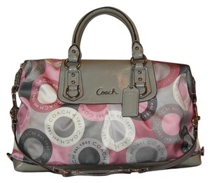 Coach Snapnead 15448 Framed Sateen/satin Satchel in Pink/Gray