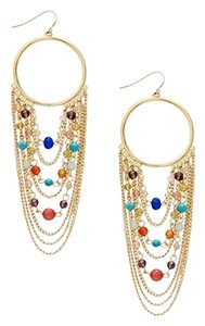 Ralph Lauren Hoop Chandelier Chain Earrings Semi Precious Beads