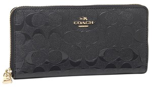 Coach Coach Midnight Patent Leather Debossed Signature Accordian Zip Wallet MSRP $265
