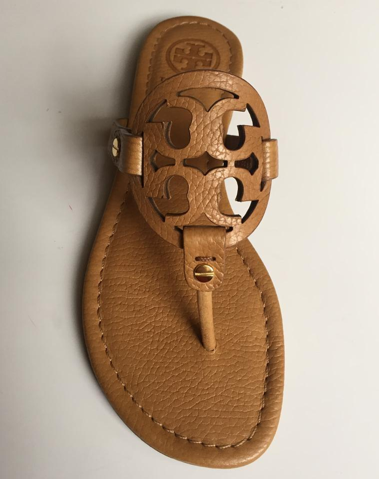 a2203b469b6a19 Tory Burch Royal Tan In Box Miller Flat Tumbled Leather Sandals Size ...