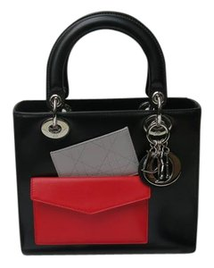 Dior Lady Tote in Black, Red grey