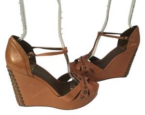 Vince Camuto T And Ankle Straps Brown leather Wedges
