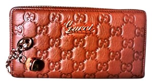 Gucci Gucci Brown Emily Leather Long Wallet Bamboo Ball w/ Gucci Box