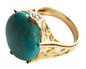 khanna 4.5ct Turquoise, 18k over SS, 7 grams ornate ring+diamond accent (Huge)