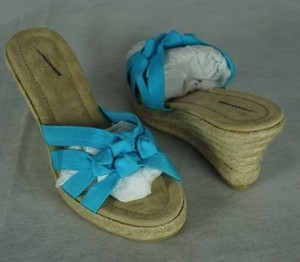 J.Crew Rafina Espadrilles Wedges Bright Aqua Blue Platforms