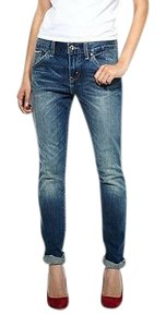 Levi's Selvedge Skinny Cropped Boyfriend Cut Jeans-Medium Wash