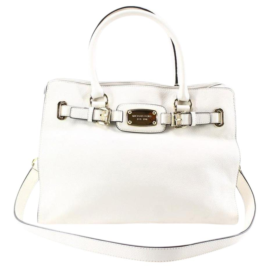 cd5dc59eb9678f Michael Kors Hamilton Large East West Tote Vanilla Leather Satchel ...