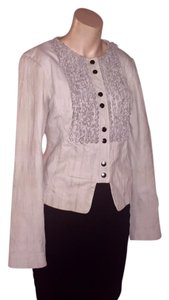 Arden B. Leather Cropped Braided Snap beige Leather Jacket