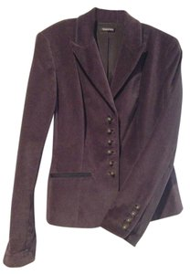 Tahari Velvet Fitted Deep Purple Blazer