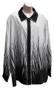 Bob Mackie Silk Art To Wear Artsy Top Silver Gray/Black