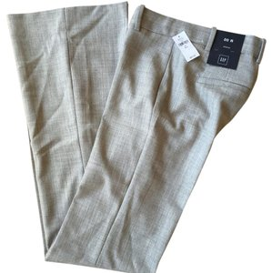 Gap Trousers Wool Blend Stretch Flare Pants Light Gray