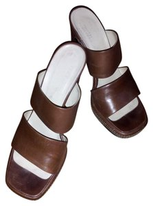 Tootsi Plohouse Vintage Ivory Stitching Mules Chunky Heels Tabacco Platforms
