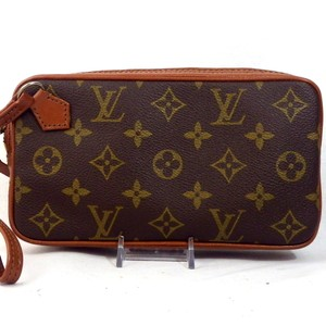 5efba1f4ef87 Louis Vuitton Pochette Monogram Canvas Leather Sport Classic Cosmetic Case  Vintage Man Clutches Wristlet in Brown