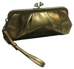 Coach Limited Edition Leather Kiss Lock Rhinestone Gold Clutch