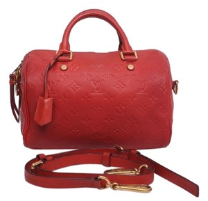 Louis Vuitton Speedy Bandouliere Empreinte Satchel in Red Orange