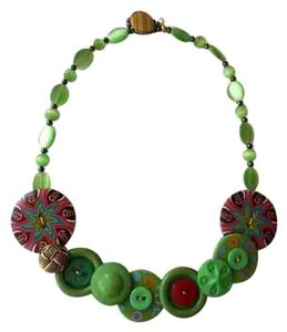 Handmade Lime Button and Glass Bead Necklace