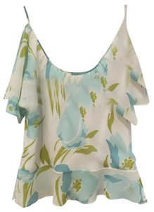 Banana Republic Retail 100% Silk Flowy Peplum Romantic Top Cream with Cyan Blue Flowers