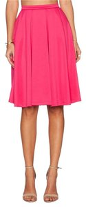 d.RA Pleated Scuba Material Spring Skirt Hot Pink