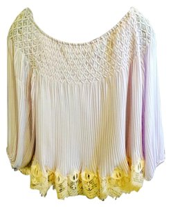 Chloé Plisse Silk Chiffon Top lavender with pink lace