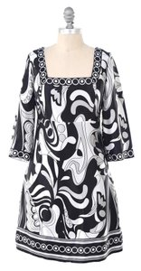 White House | Black Market short dress Black & White 60's Mod Print Silk Charmeuse Mini Shift on Tradesy