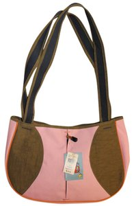 Life is Good Crossbody Messenger Canvas Satchel in pink blue brown