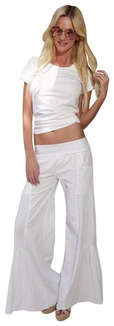 """Item - White Organic Cotton Fitted Cottage Chic """"Kamellia"""" Palazzo Pants Size 14 (L, 34)"""