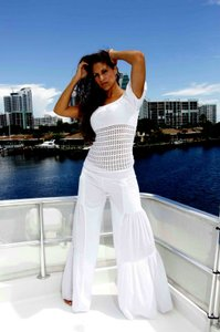 Lirome Bohemian Chic Summer Wide Leg Pants White