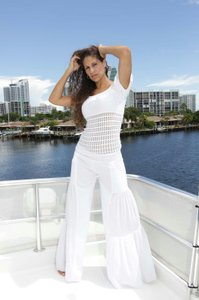 Lirome Bohemian Resort Vacation Ibicenco Cottage Chic Wide Leg Pants White