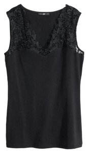 H&M Sleeveless Navy Cotton Top Navy Blue