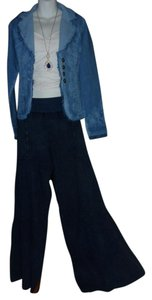 Lirome Bohemian Resort Vacation Wide Leg Pants Denim Blue