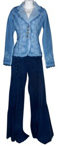 Lirome Bohemian Resort Vacation Ibicenco Cottage Chic Wide Leg Pants Denim Blue