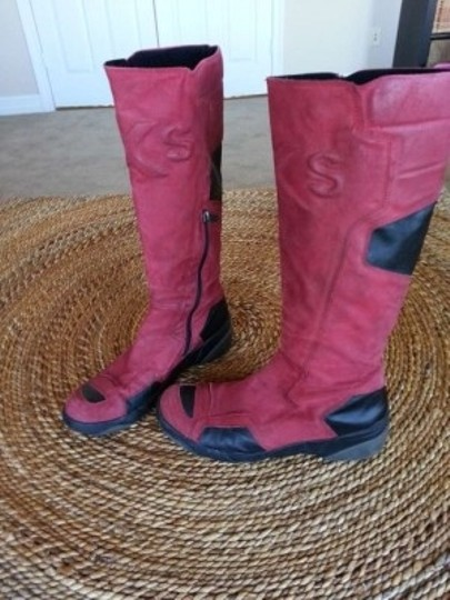 OXS Italian Leather Motorcycle Style red Boots