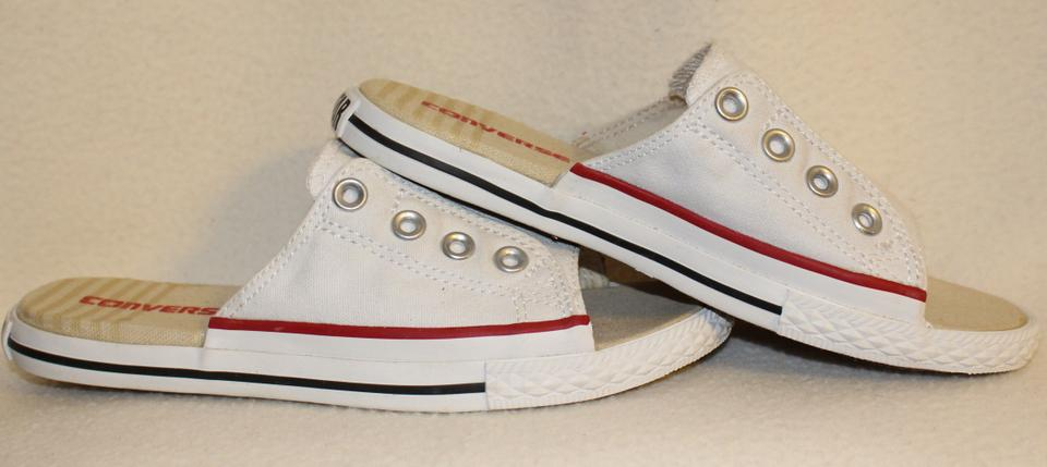 35c639ed88ca Converse All Star Sneaker Grommet Canvas Slide White with Red trim Mules  Image 10. 1234567891011
