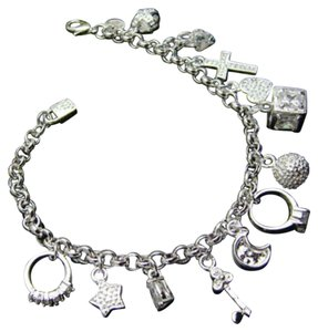 925 sterling Silver Plated Fashion Women 13 Charm pendant Beautiful Bracelet