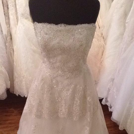 Maggie Sottero Ivory Pewter Accent Wedding Dress Size 8 (M)