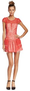 BCBGeneration Bcbg Red Lace Sheer Dress
