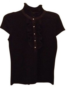Adrienne Vittadini Top black with gold buttons