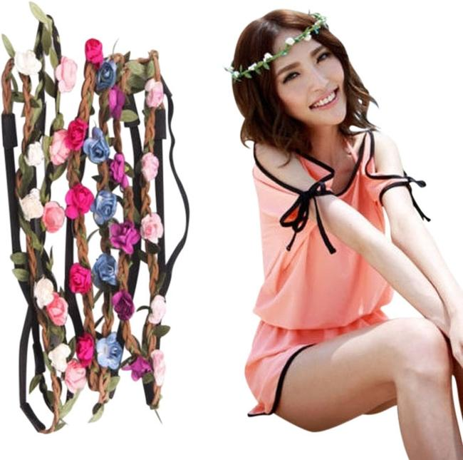 Item - 1 Pc Leather Plaited Roses & Petals Elastic Headband Hair Accessory