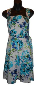 Other short dress BLUE FLORAL Floral Sleeveless Pleated Full Skirt A-line on Tradesy