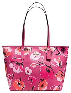 Coach Zip Top Shoulder Tote in pink