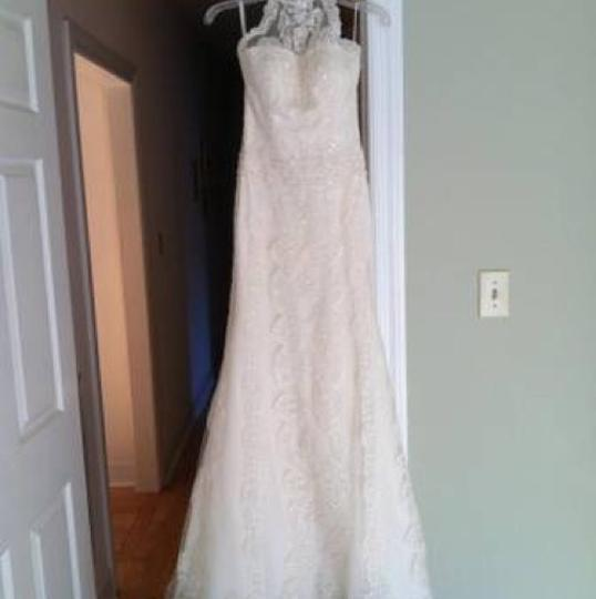 Pronovias Ivory Lace Sale Gown Retro Wedding Dress Size 4 (S) Image 0