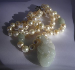 Vintage Vintage Akoya Pearl A Jade Pale Green Carved Horse Pendant Beads Necklace Strand
