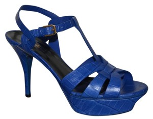 Saint Laurent Ysl Ysl Tribute Blue Sandals