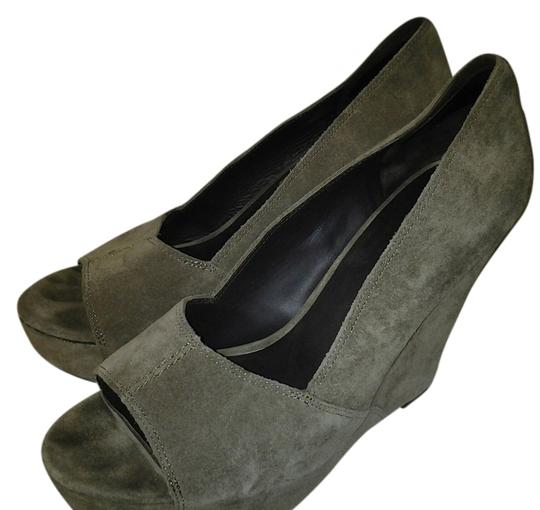 Elizabeth and James gray taupe Wedges