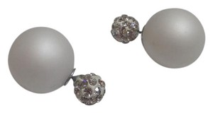 New Double Sided Stud Earrings White Silver Crystals J2546