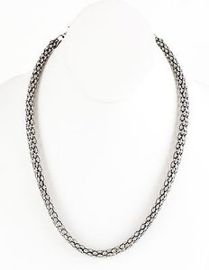 Other Silvertone Hollow Mesh 17.5 3 Ext. Chain Necklace Bj03