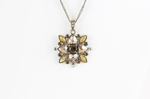 Other Gold And Silvertone 16 3.5 Ext Copper Orange Rhinestone Pendant Necklace Bj03